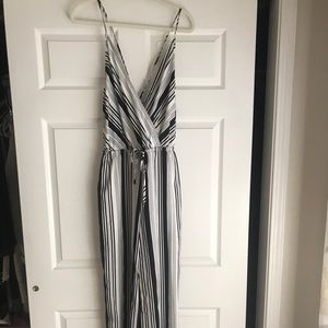 Ark & Co Clothing Black/White Strip Jumpsuit